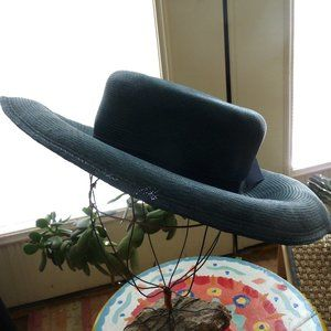 Large brimvintage blue teal straw hat Jordan Marsh